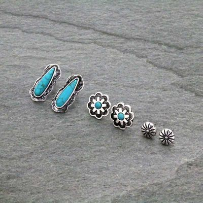 3 Pair Turquoise Earrings Set
