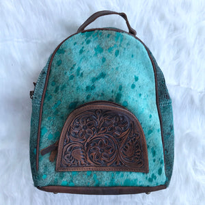 Turquoise Cowhide Backpack