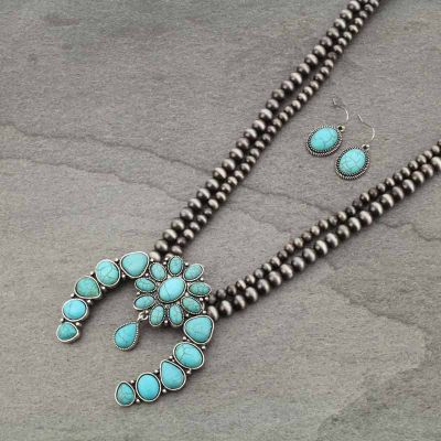 Navajo Turquoise Squash Blossom Double Strand Necklace & Earring Set