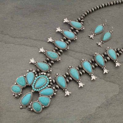 Navajo Turquoise Squash Blossom Necklace & Earring Set