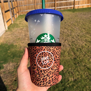 Leopard Java Sok Drink Sleeve - Small 16-20oz