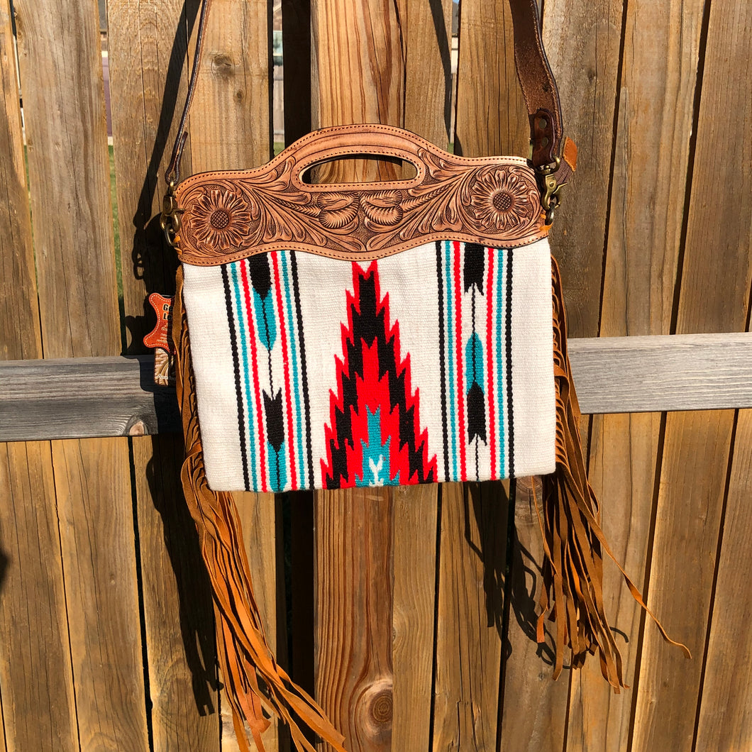 White Aztec Fringe Crossbody Purse