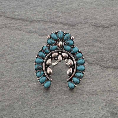 Western Squash Blossom Cuff Adjustable Ring