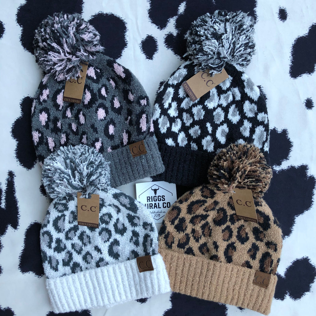 C.C. Leopard Jacquard Beanie Hat with Pom in Latte