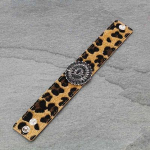 Leopard Leather Black Concho Bracelet