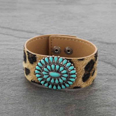 Leopard Leather Concho Bracelet