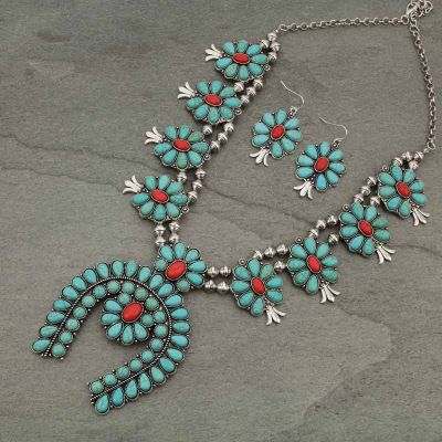 Squash Blossom Turquoise Red Necklace Set
