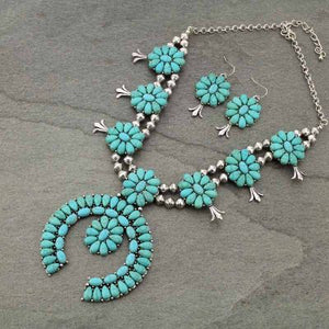 Squash Blossom Burnished Silver & Turquoise Necklace Set