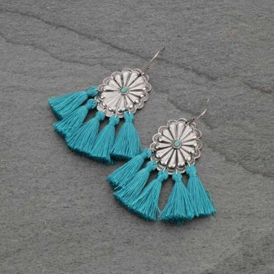 Turquoise Concho with Tassel Earrings