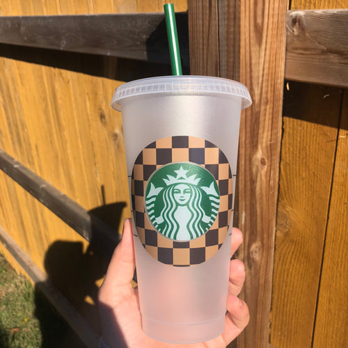Designer Check Pattern - Cold Cup