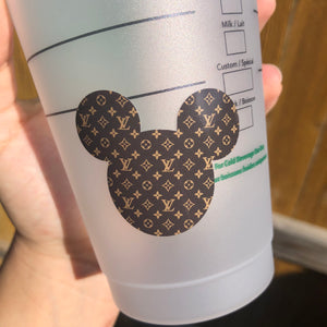 Designer Mickey Head Small Brown Pattern - Cold Cup