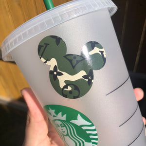 Designer Mickey Head Dark Green Camo Pattern - Cold Cup