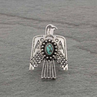 Turquoise Stone Thunderbird Adjustable Ring