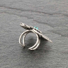 Load image into Gallery viewer, Turquoise Stone Thunderbird Adjustable Ring