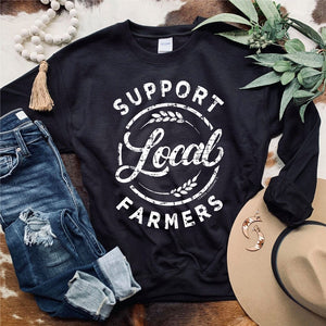 Support Local Farmers Black Sweatshirt
