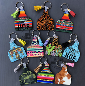 Cattle Cow Ear Tag Keychains