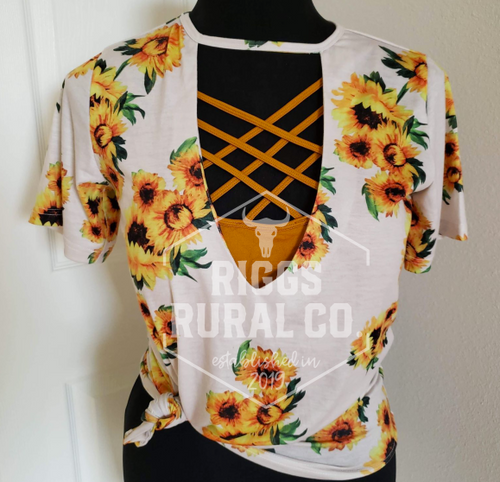 Sunflower Cut Out Top CLEARANCE