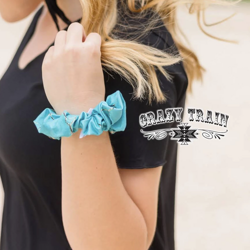 Crazy Train Turquoise Stone Scrunchie