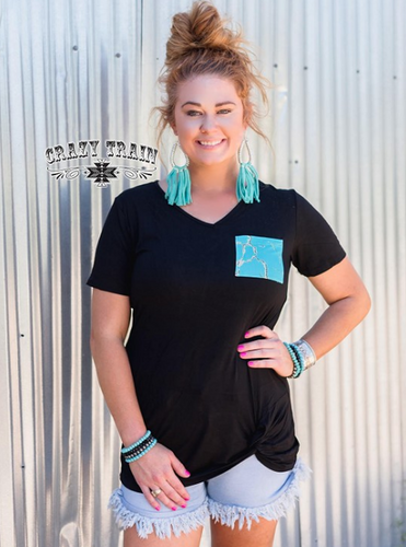 Crazy Train Pock And Lock It Knot Top - Turquoise