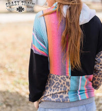 Load image into Gallery viewer, Crazy Train Happy Hour Serape Leopard Hoodie