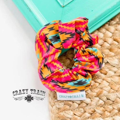 Crazy Train Haggard Scrunchie - Pink Aztec