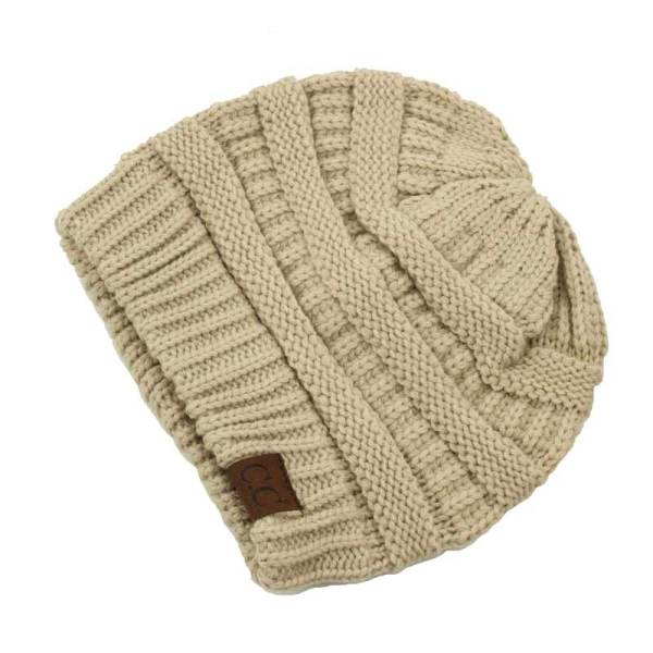 C.C. Thick Slouchy Knit Beanie Cap Hat in Beige