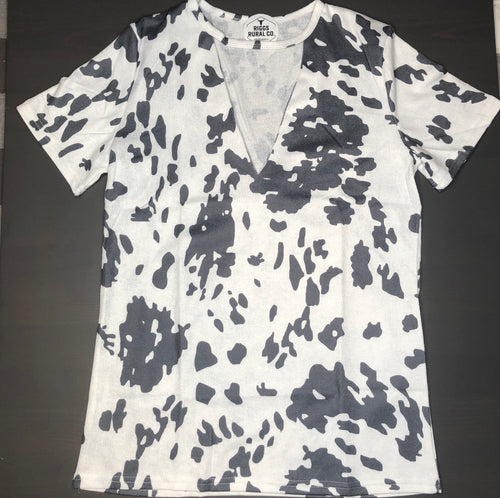 Cow Print Cut Out Top CLEARANCE