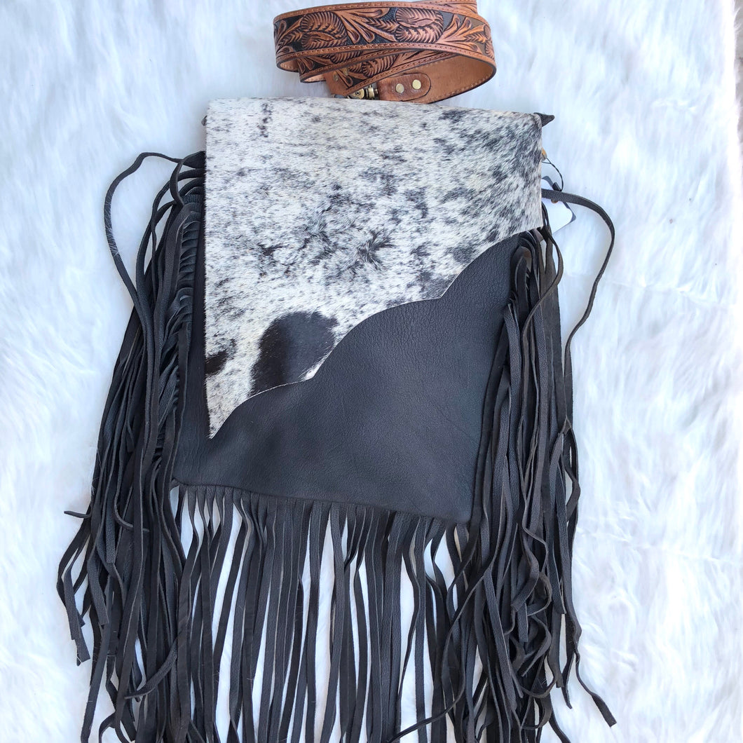 Black Cowhide Crossbody Purse