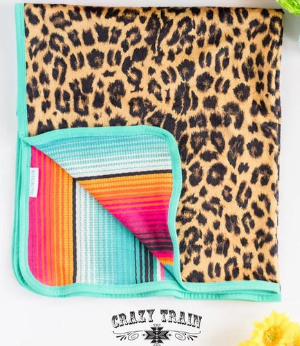 Crazy Train Sweet Nappin' Serape & Leopard - Kid & Adult Blanket CLEARANCE