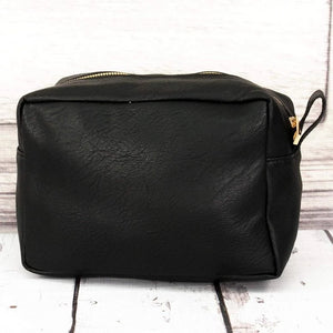 Black Faux Leather Cosmetic Makeup Bag