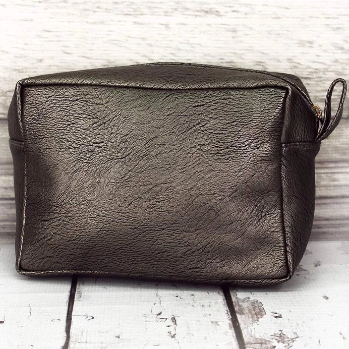 Dark Silver Faux Leather Cosmetic Makeup Bag