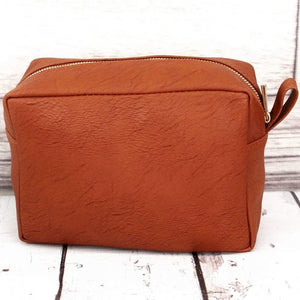 Light Brown Faux Leather Cosmetic Makeup Bag