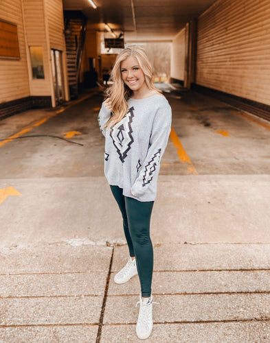 Gray & Black Aztec Pullover Sweater