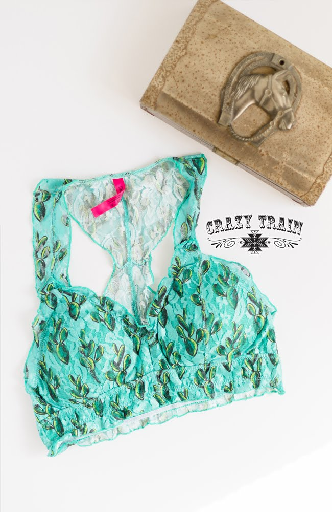 Crazy Train Prickly Pear Bralette in Turquoise Cactus