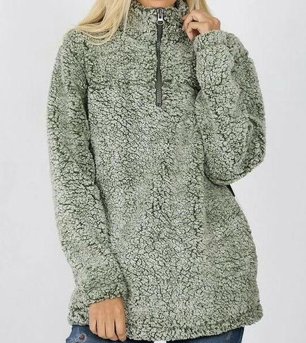 Soft Sherpa 1/2 Zip Pullover in Hunter Green with Side Pockets Sweater