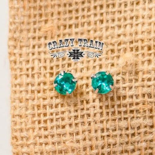 Crazy Train Teal Glam Girl Stud Earrings