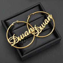 Load image into Gallery viewer, Olyssia 18ct Gold-Plated Personalized Name Hoop Earrings - KAIA The Label