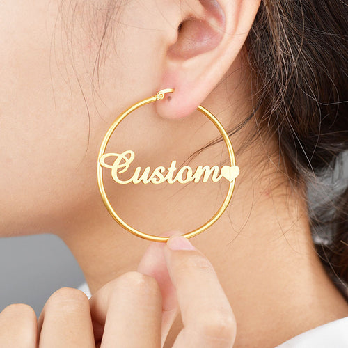 Olyssia 18ct Gold-Plated Personalized Name Hoop Earrings - KAIA The Label