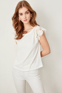 Daisy Short Sleeve Lace Knit Top - Olyssia™ Online