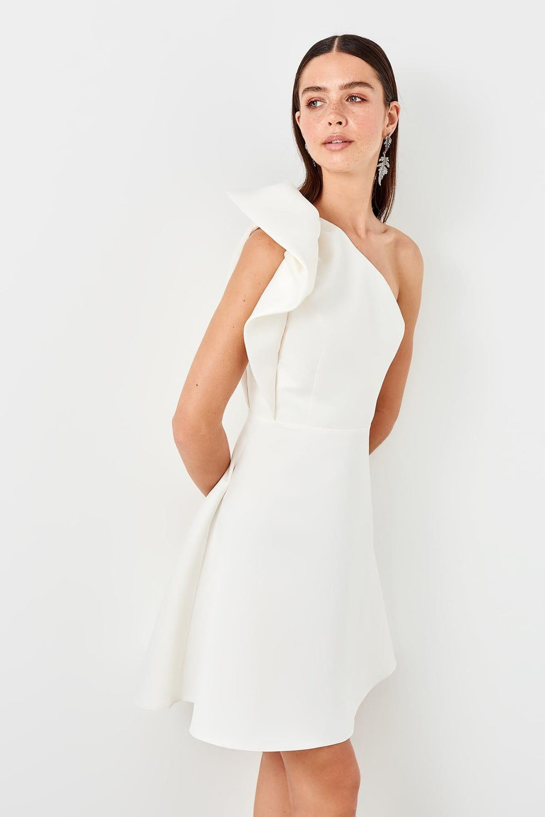 Rose One Shoulder Bow Dress - Olyssia™ Online