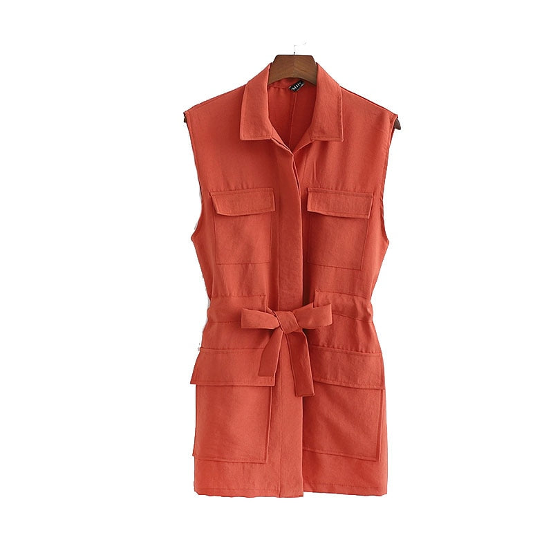 Marley Collared Pocket Vest With Tie Belt Detail - Olyssia™ Online