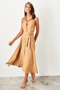 Stephanie Camel Button Dress - Olyssia™ Online