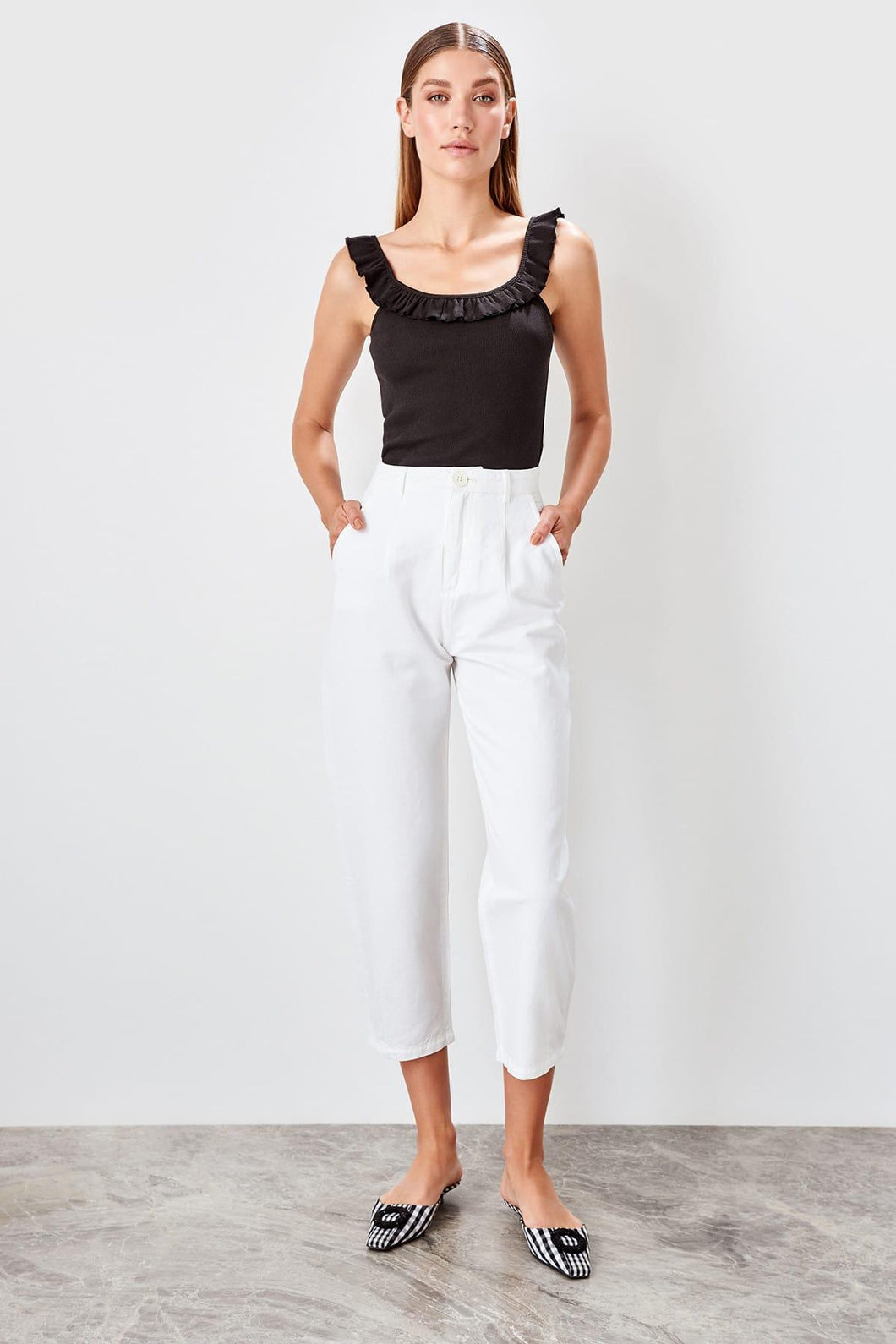 Sandy White Pleat Detail High Waist Jeans - Olyssia™ Online