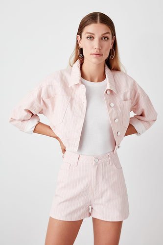 Baby Pink Striped Denim Shorts - Olyssia™ Online
