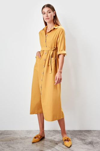 Aubrey Mustard Shirt Dress - Olyssia™ Online