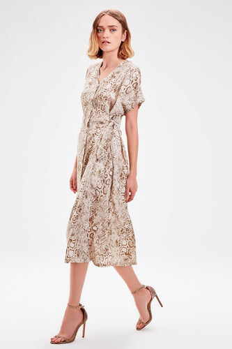 Amaria Cream Button Detail Patterned Dress - Olyssia™ Online