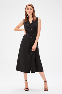 Marina Black Button Dress - Olyssia™ Online