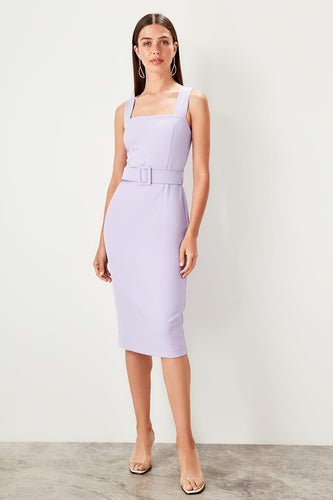 Kimberley Belted Midi Pencil Dress Lilac - Olyssia™ Online