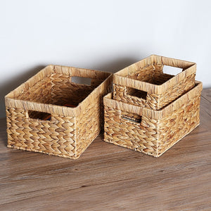 Natural Straw Rectangular Storage Basket - Olyssia™ Online