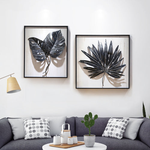 Nordic Wrought Iron Stereo Plant Leaf Wall Hanging - Olyssia™ Online